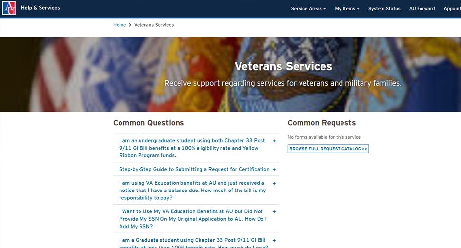 American University Veterans Services - FAQ